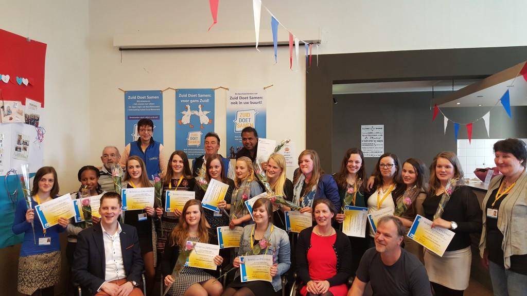 De studenten waren -terecht - erg trots op het behalen van hun stage!